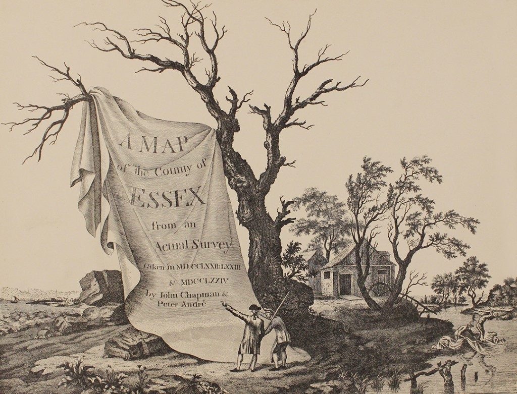 Frontispiece of Chapman and Andre's 1777 map of Essex, which was much more detailed and accurate than the county maps which had gone before it