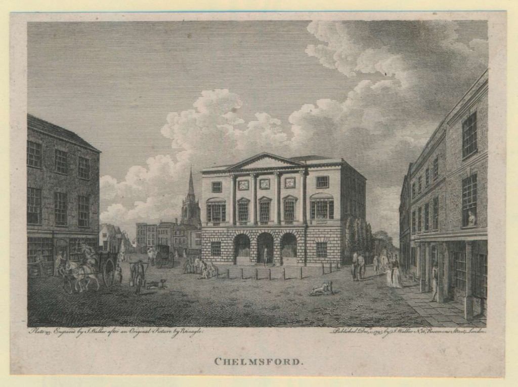 Chelmsford's Shire Hall soon after its opening in 1791. Engraving by J. Walker after an original picture by Reinagle, 1795 (I/Mb 74/1/59)