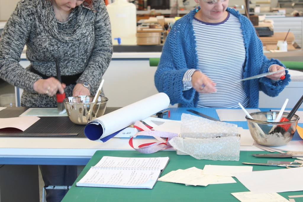 A bookbinding class in the ERO conservation studio