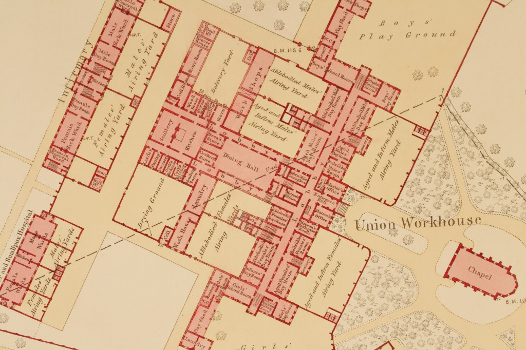 Ordnance Survey map showing Maldon Union Workhouse, 1873