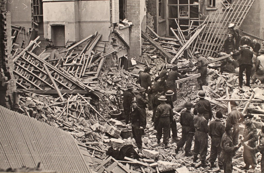 Rescuers at work following a bombing raid in Southend (D/BC 1/7/7/7)