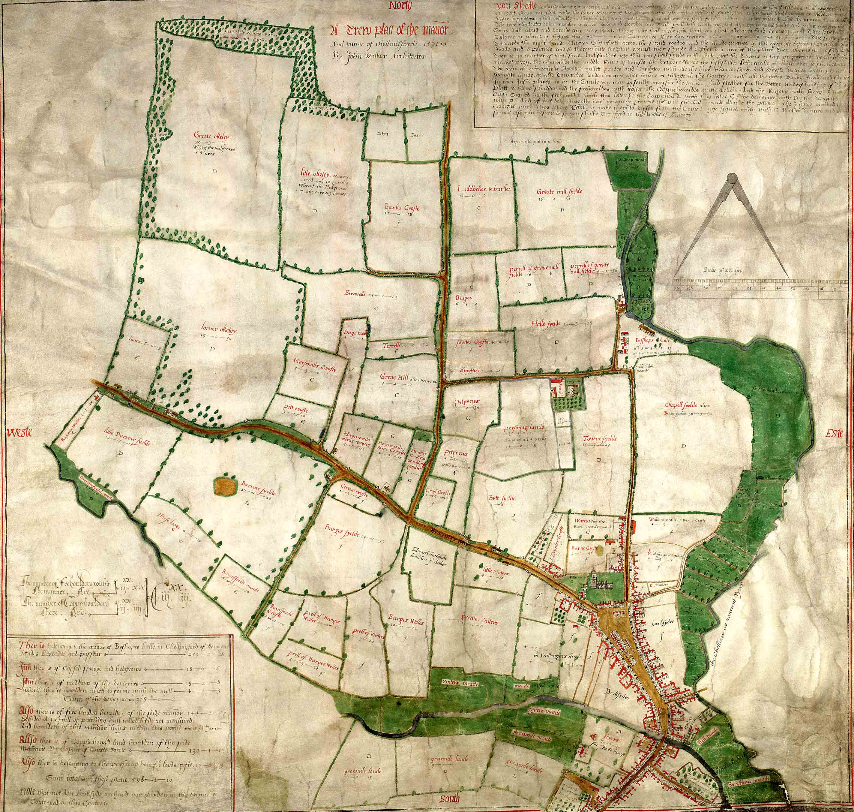 The Walker map of Chelmsford, 1591 (D/DM P1)