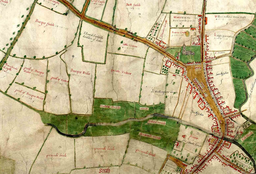 Extract from the Walker map of Chelmsford, 1591 (D/DM P1)