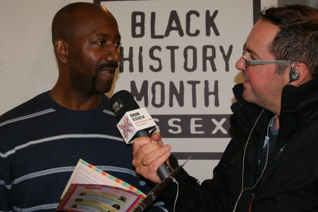 Poet Jeffrey Porter being interviewed by BBC Essex's Ian Wyatt