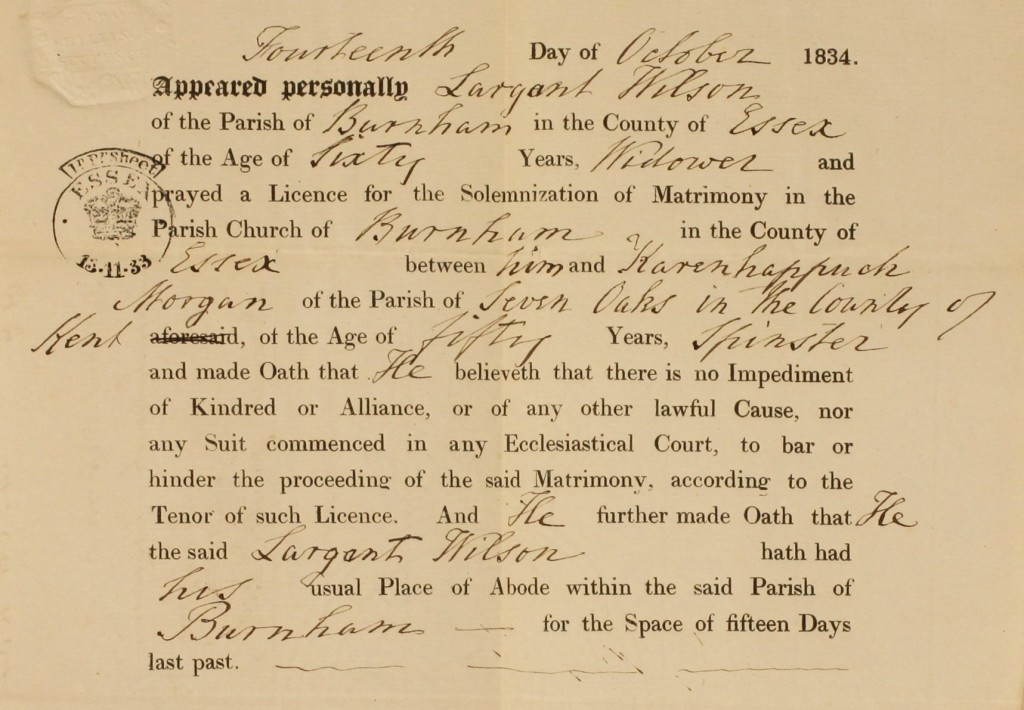 Marriage licence for Sargant Wilson and Karenhappuch Morgan, 1834