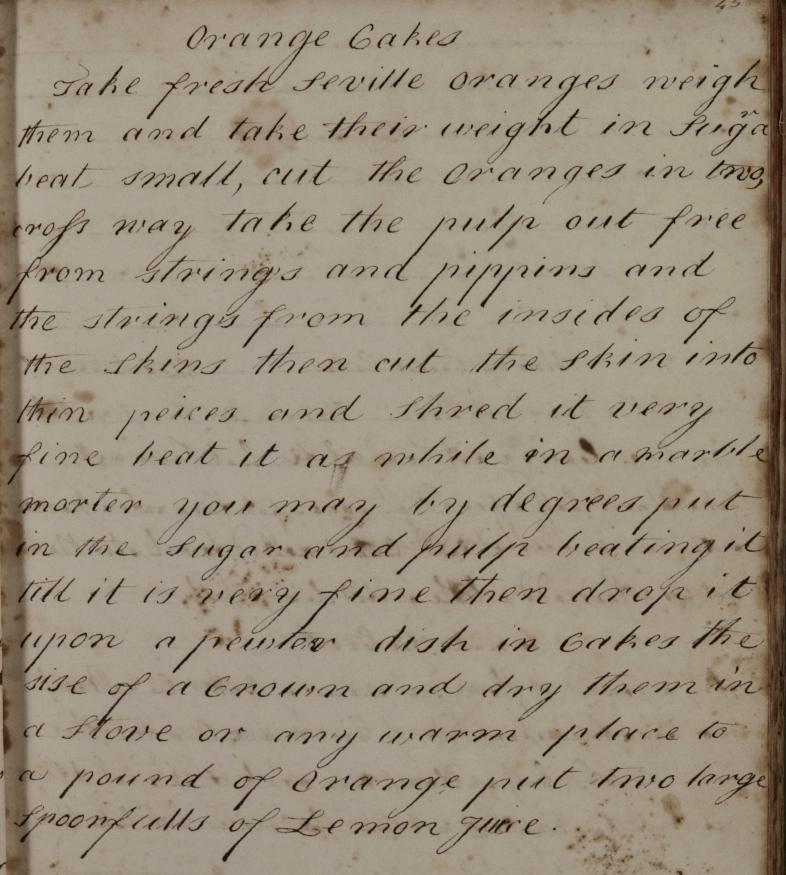 Mary Rooke's recipe for orange cakes (D/DU 818/1 image 24)