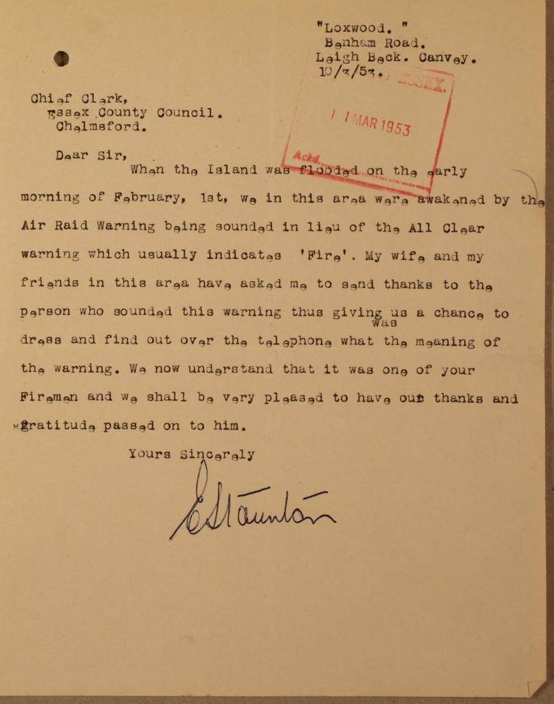 Letter from Mr E. Staunton (C/DC 11/Fd43)