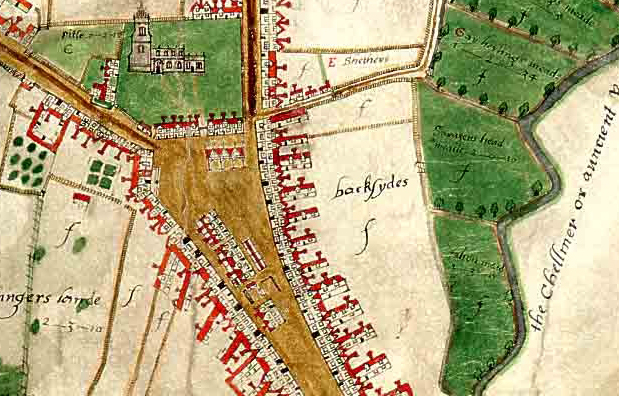 Extract from Walker map of Chelmsford, 1591 (D/DM P1)