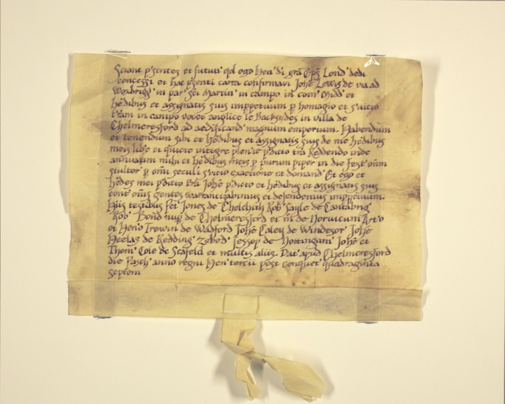 750 year old deed discovered giving land in Chelmsford