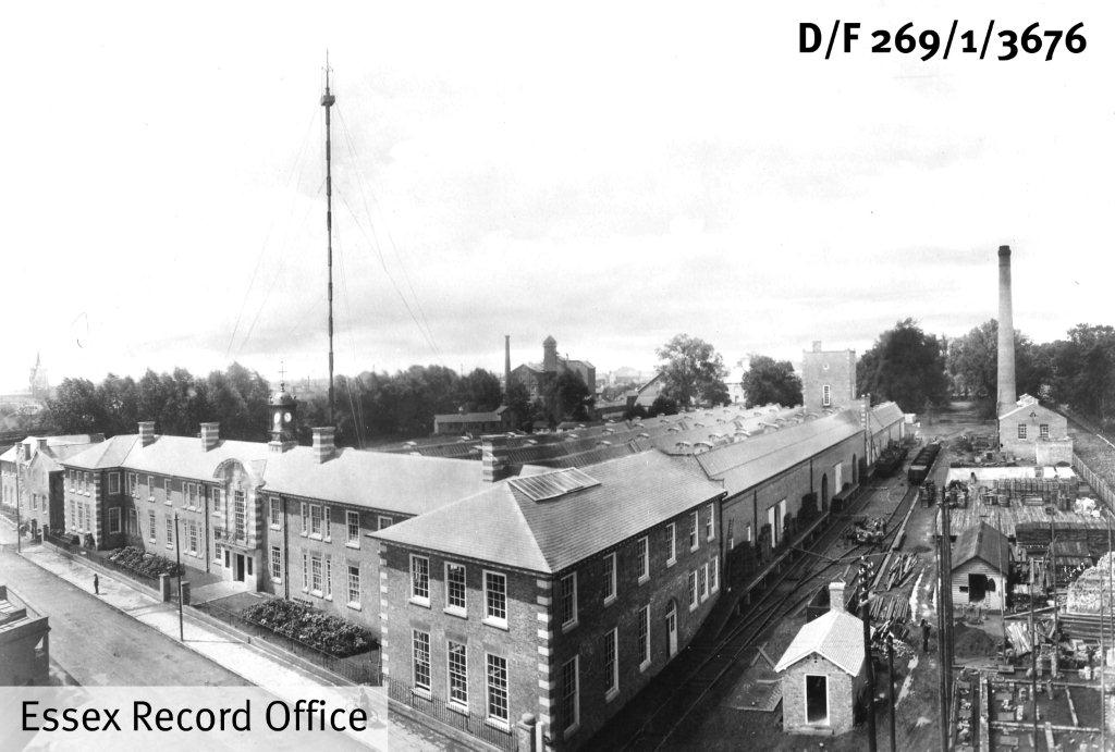 Black and white photograph of Marconi factory in New Street, Chlemsford