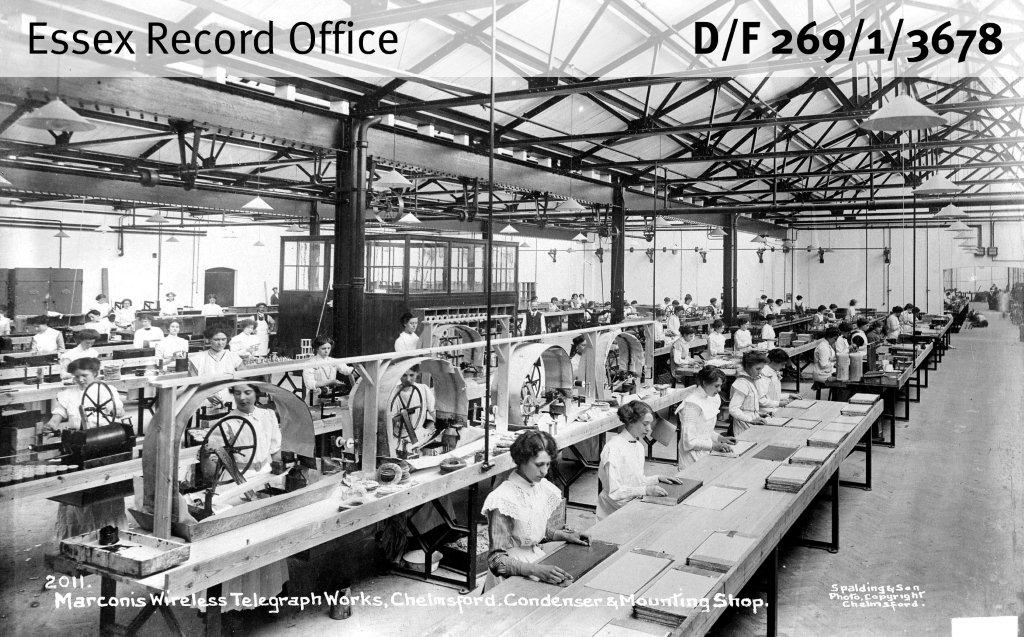 Black and white photograph of women at work in Marconi factory