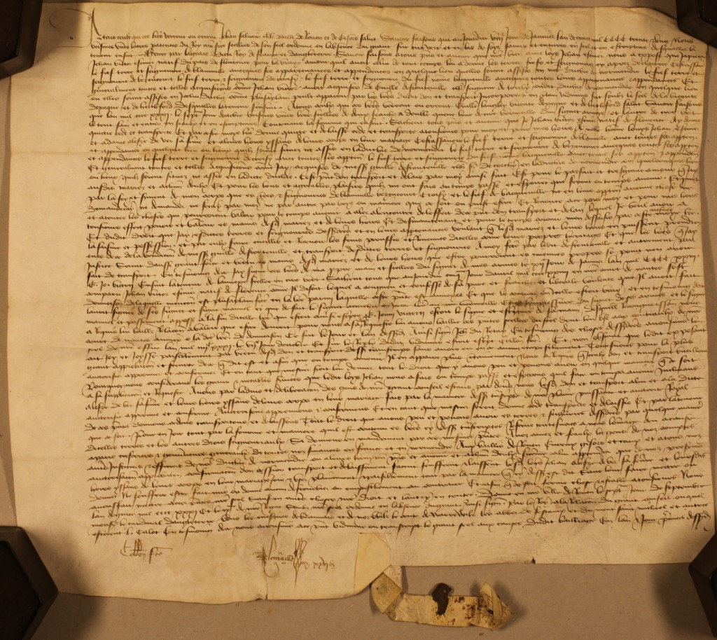 D/DP T1/1848: This is a confirmation of land by Letters Patent dated at Rouen on the 7th September 1481. It is written entirely in medieval French following the French style. This will unfortunately not appear in the PRO calendars.