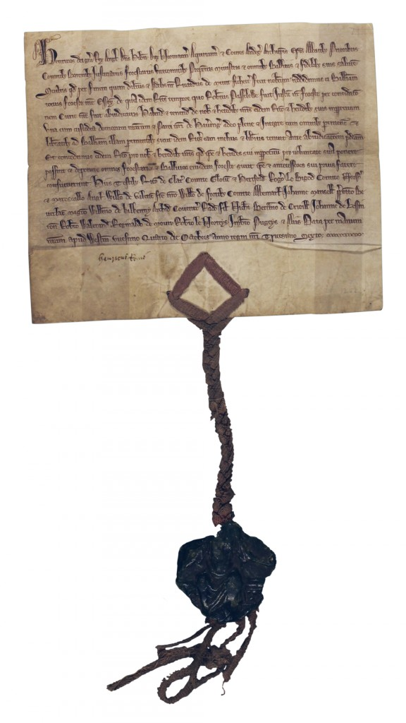 Deed of the Royal Fores of Essex, 1252(D/DCw T1/1)