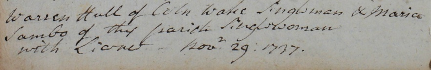 Marriage of Maria Sambo to Warren Hull in Earls Colne, 1737 (D/P 209/1/4)