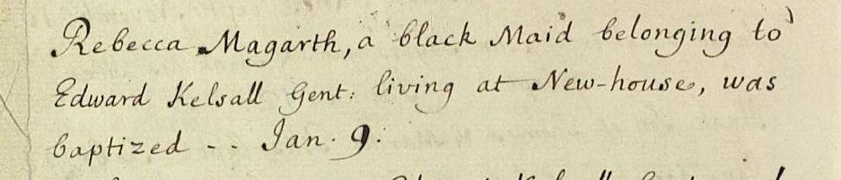 Baptism of Rebecca Magarth, recorded in the Broomfield parish register in January 1736/7 (D/P 248/1/1)