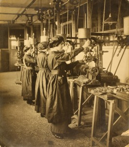 Women working at Hoffmann's ball bearings factory in Chelmsford, 1914 (Frederick Roberts Collection, Anglia Ruskin University, held at ERO)