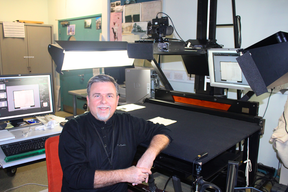 New Digitiser Andy Morgan at work in ERO's Digitisation Studio
