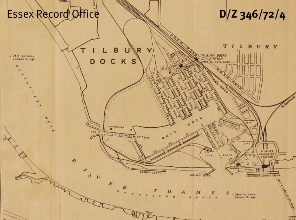 Port of London Authority map of Tilbury Docks, early twentieth century