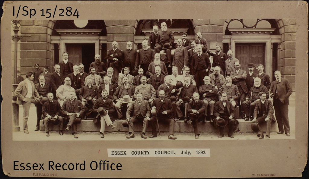 Essex County Council, 1892. Andrew Johnston, the Council's first Chairman and the High Sheriff who began the journals, is in the top centre of the photograph, sitting aside the cannon which used to be outside Chelmsford's Shire Hall