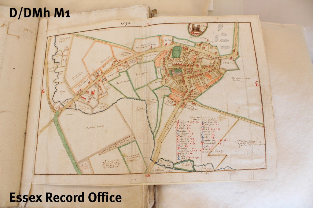 Pull-out map of centre pf Castle Hedingham in survey of manor and lordship of Castle Hedingham by Israel Amyce, 1592 (D/DMh M1)