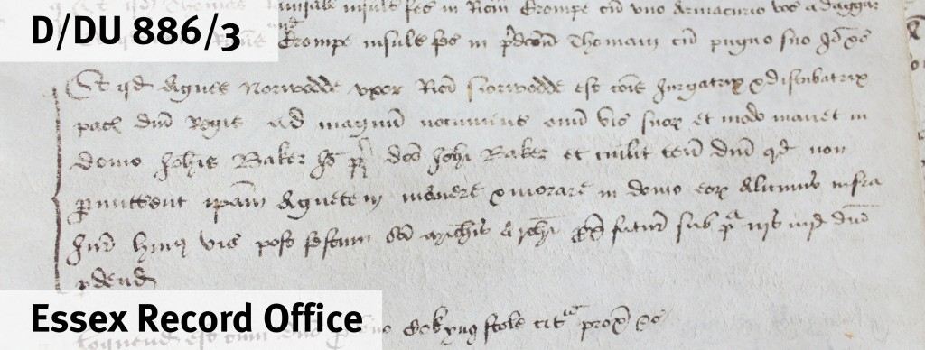 Extract from court roll of High Roding, 1525 (D/DU 886/3), in which Agnes Norwood (you can read her name in the third and fourth words on the first full line shown) was denounced as a scold and disturber of the peace. She had been living in the house of John Baker – you can make out his name in the third full line shown.