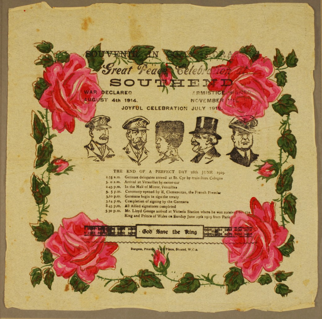 Commemorative handkerchief for the peace celebrations at Southend, July 1919 (Acc. S3299)