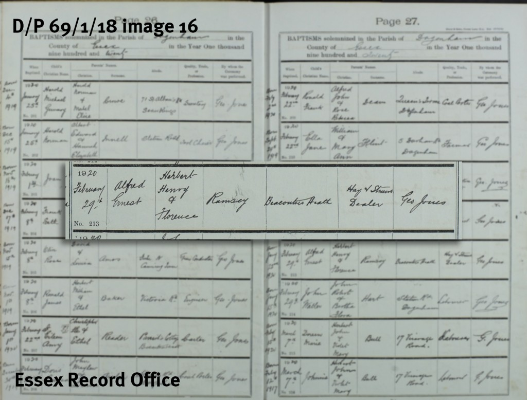 Alf Ramsey's baptism record (D/P 69/1/18)