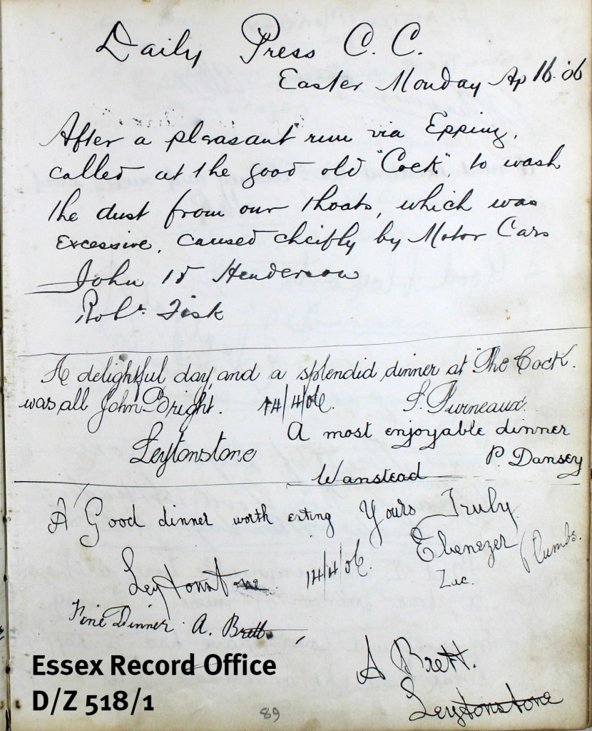 D/Z 518/1 - Another entry from this fascinating guestbook. It seems like interacting with motorcars was a problem for cyclists even way back in 1906.