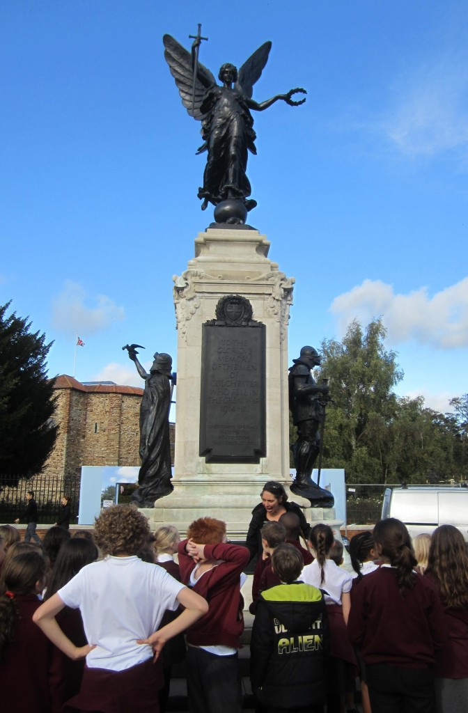 school trip 9 Pupils visit Colchester's War Memorial and discuss the symboliic meaning of the sculptures. They used 1897 maps to make comparisons of what the site looked like 100 years ago