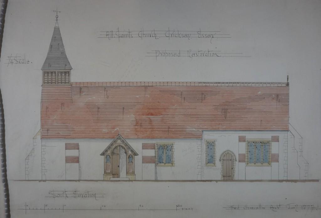 1876-7 restoration - S elevation