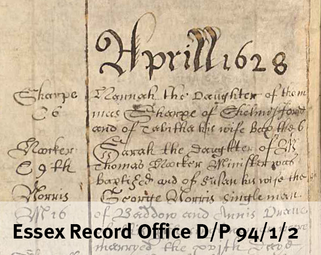 Sarah Hooker baptism Chelmsford 1628
