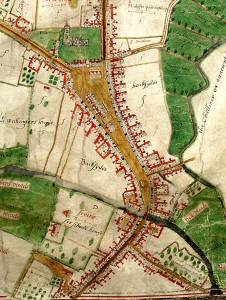 John Walker's map of Chelmsford, 1591 (D/DM P1)