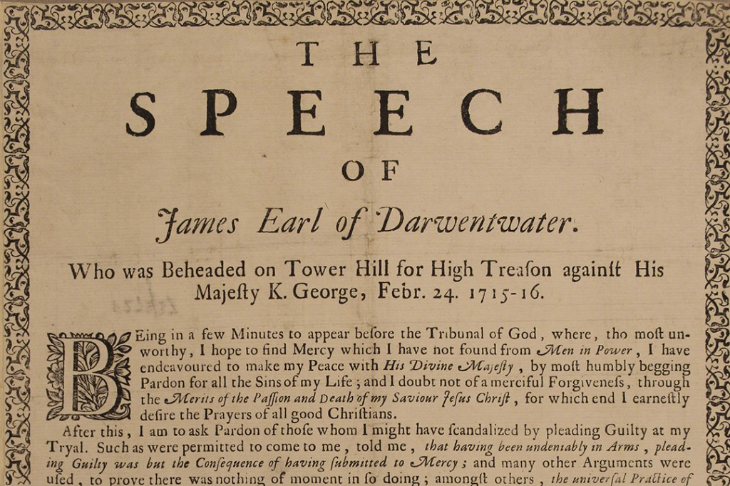 Earl of Derwentwater speech