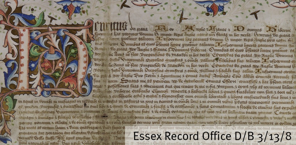 Henry VI described as King of England and France and Lord of Ireland on the Maldon Borough charter of 1454 (D/B 3/13/8)