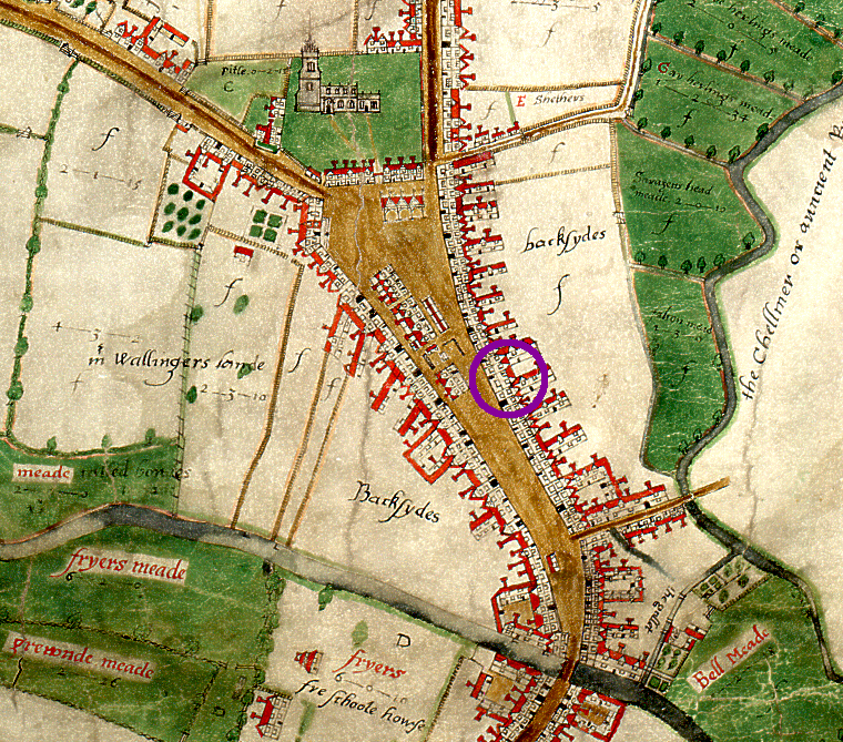 Extract of John Walker's map of Chelmsford, 1591, showing site of Falcon Inn (D/DM P1)