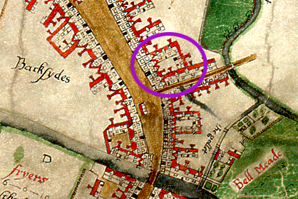 John Walker's 1591 map of Chelmsford, with the Black Boy Inn highlighted on the junction between the High Street and what is now Springfield road