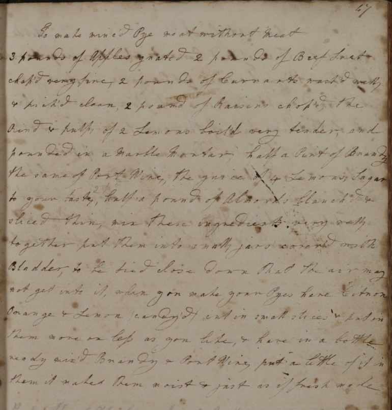 Mary Rooke's recipe for mince pie filling (D/DU 818/1)