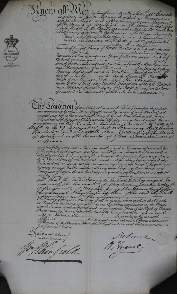D/ACL 1807/28 - The marriage bond is for £100.00