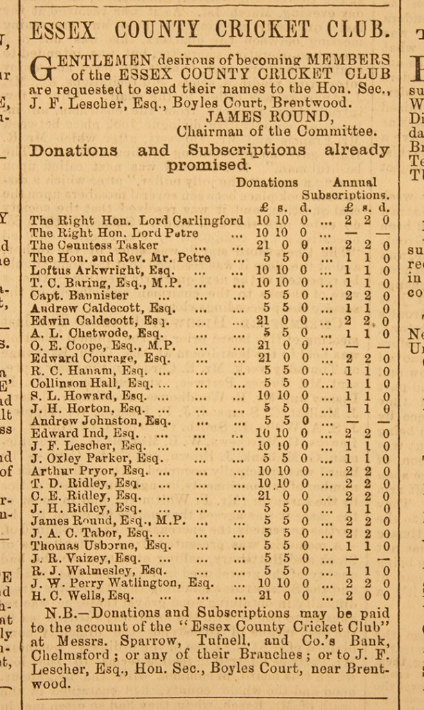 An advertisement for players in the Chelmsford Chronicle, 10 March 1876