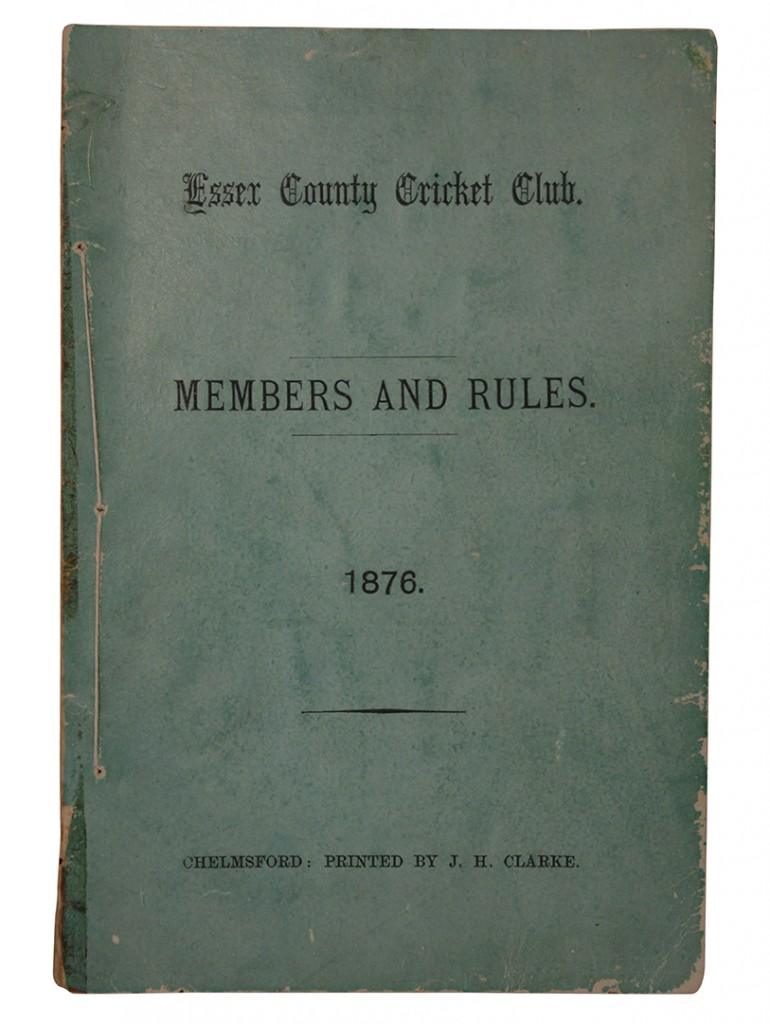 The first list of rules and members of Essex County Cricket Club, 1876
