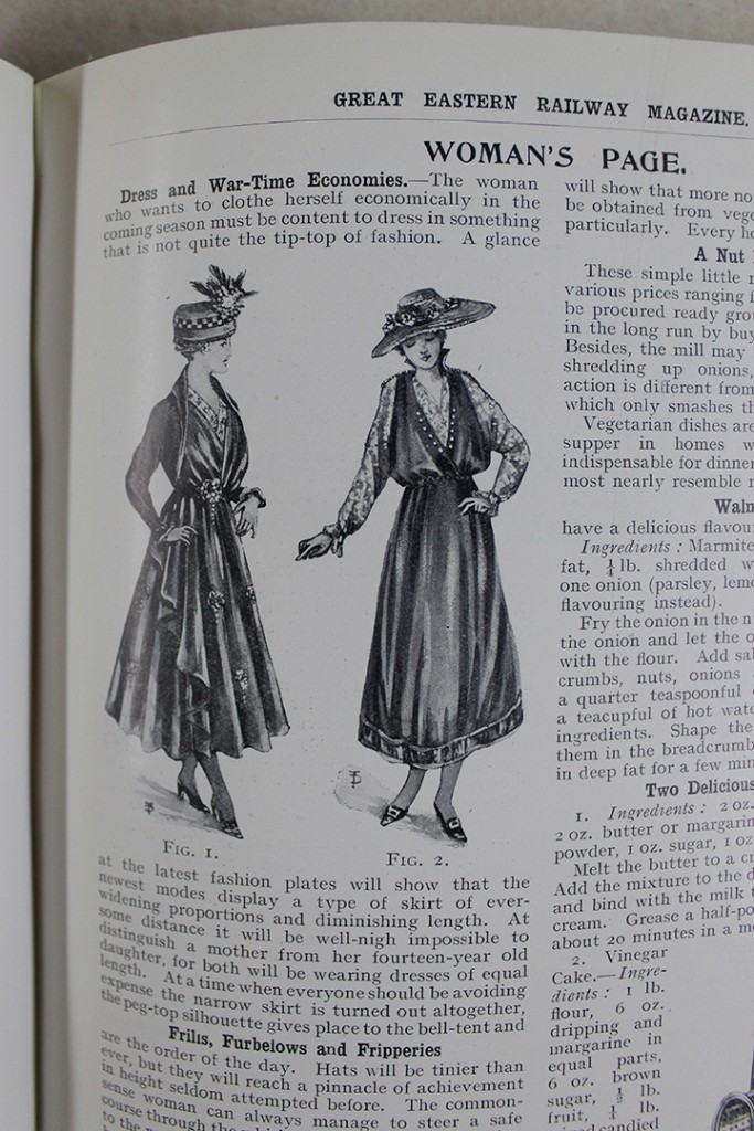 Fashion plates in a 'Woman's Page' of a GER magazine from early 1918