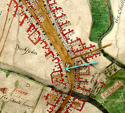 Extract from John Walker's 1591 map of Chelmsford pointing out the site of no.58 High Street (D/DM P1)