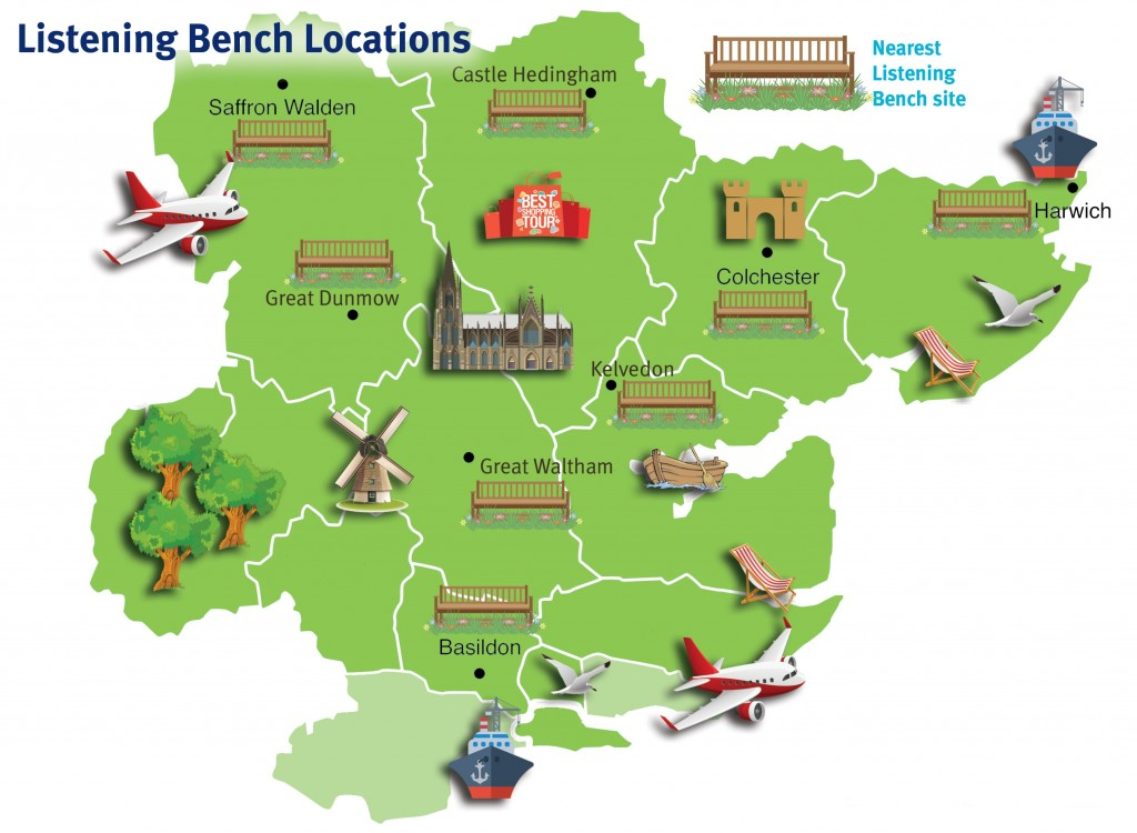 Cartoon map showing locations of all the community listening benches