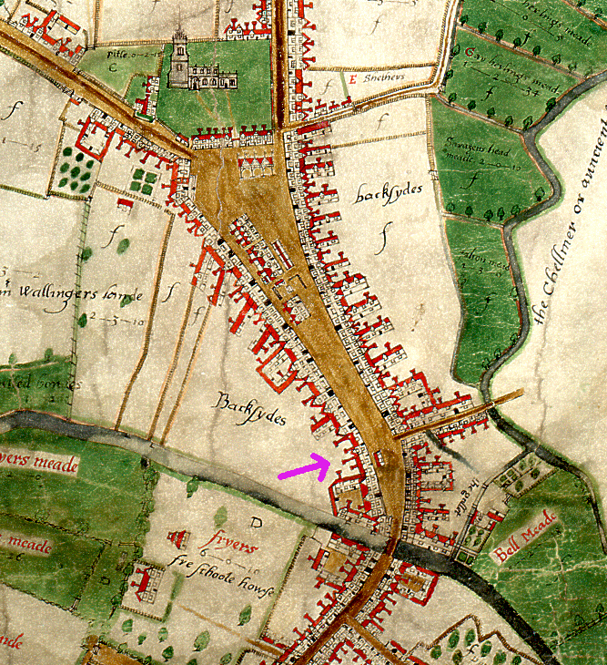 Extract from John Walker's map of Chelmsford, revealing two tenements on part of the site that would later comprise of 61 High Street. (D/DM P1)