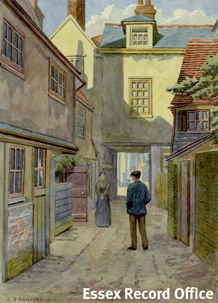 Watercolour of the Queen's Head Yard by A.B. Bamford in 1906.