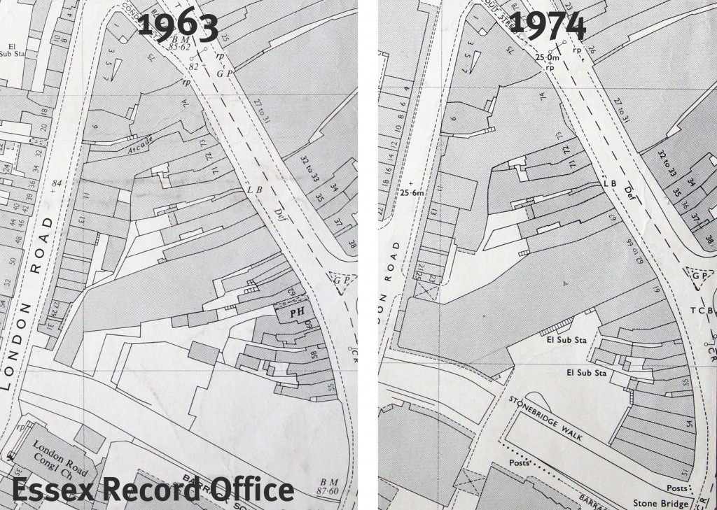 OS maps of Chelmsford 1963 and 1974