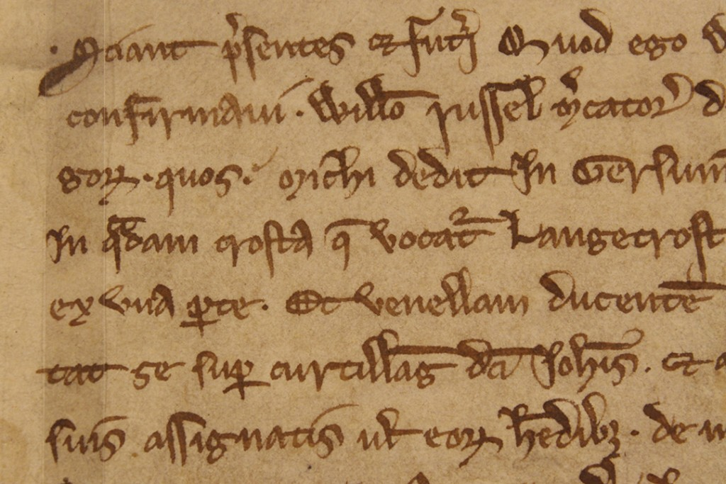 The third word on the fourth line down is 'croftam', a Latinised version of the English word 'croft'. You can see the shape of an 'a' at the end of the word, and the downward stroke joined to it is a contraction to indicate an 'm'
