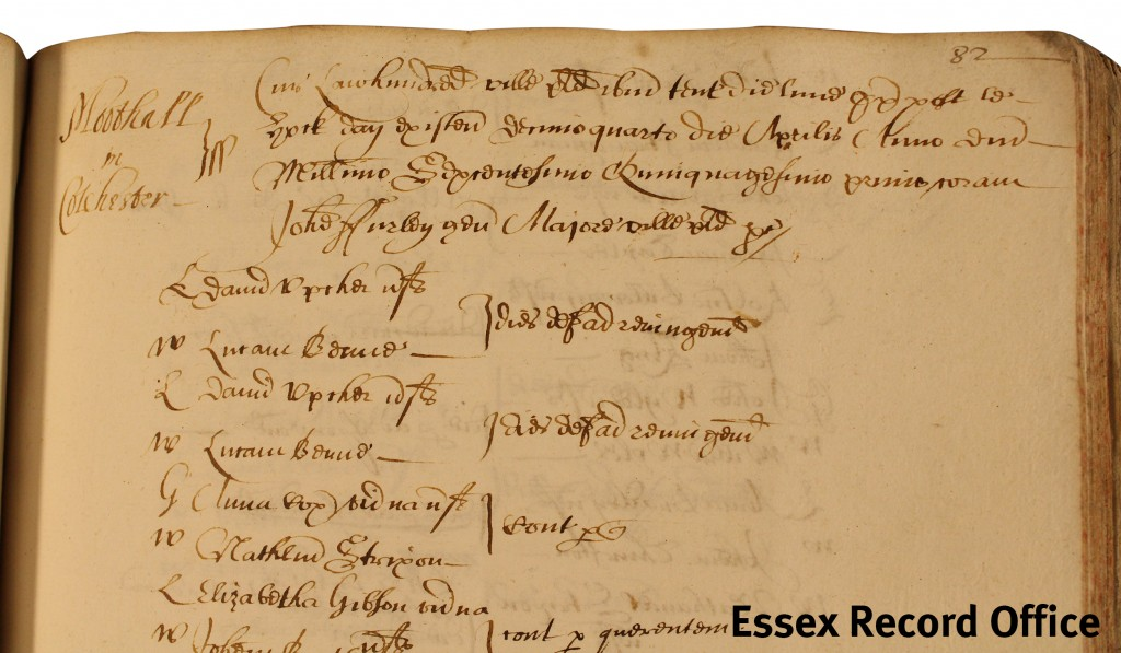 Colchester Monday Court book - last Latin entry