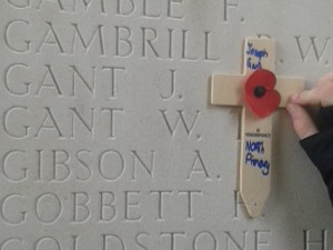 Children from North Primary School in Chelmsford remembering Joseph Gant at the Thiepval memorial