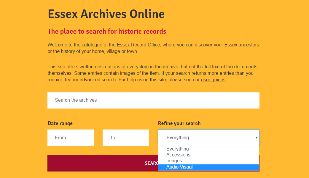 Screenshot showing option to find a-v material on Essex Archives Online